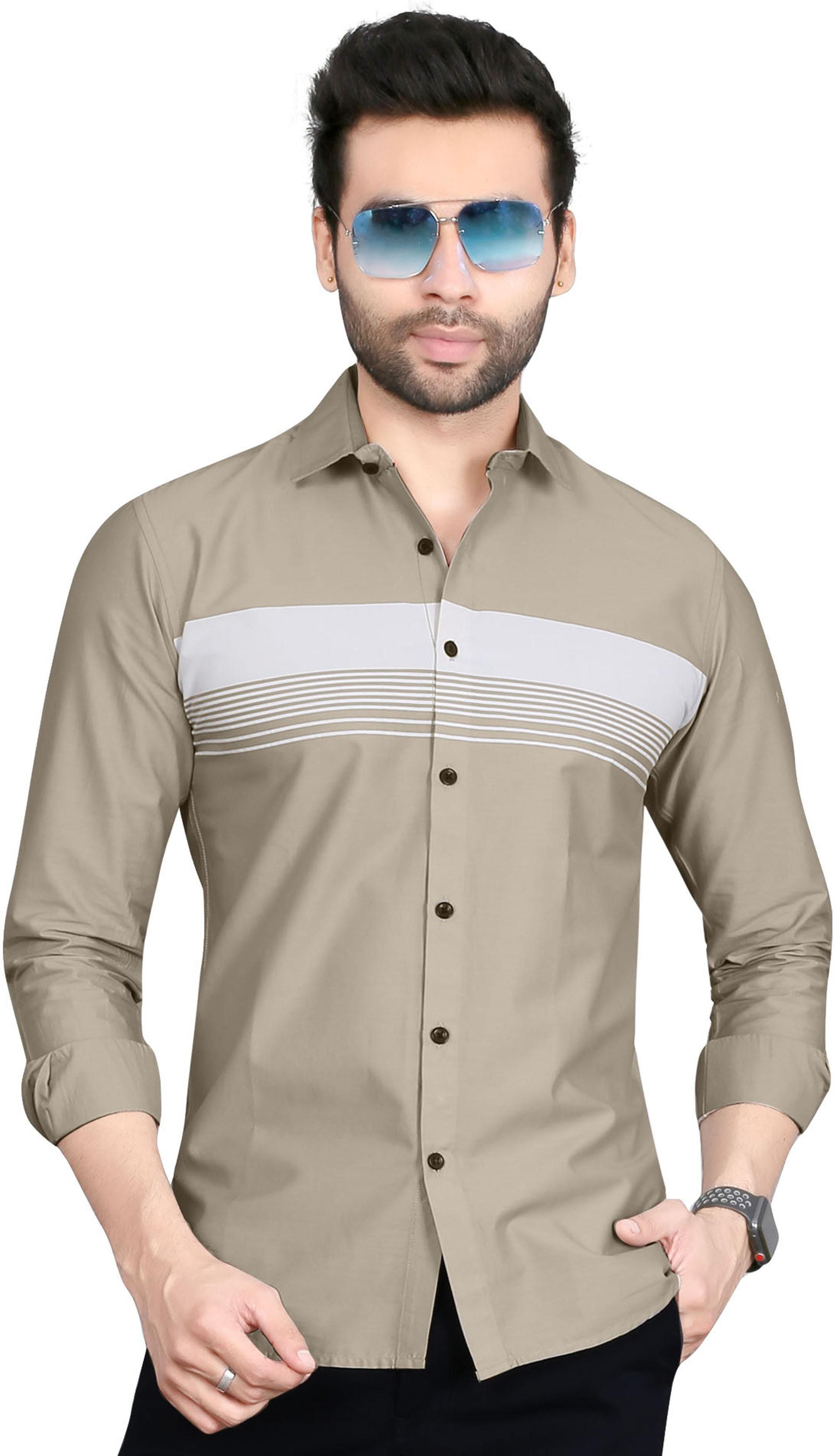 5th Anfold | Horizontal Striped Casual Cotton Shirt By 5th Anfold