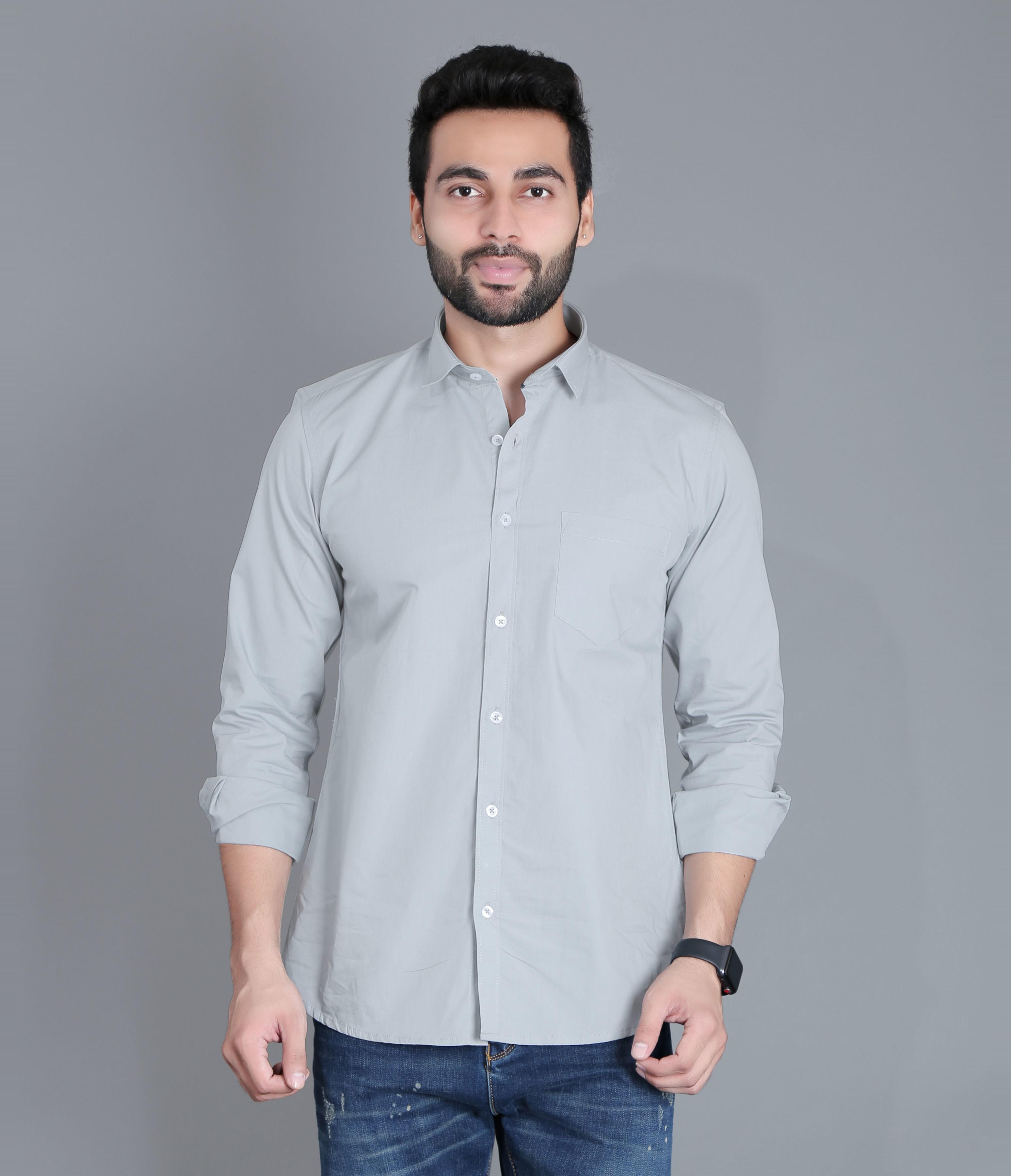 FIFTH ANFOLD Men's Cement Green Casual Slim Collar Full/Long Sleev Slim Fit Shirt