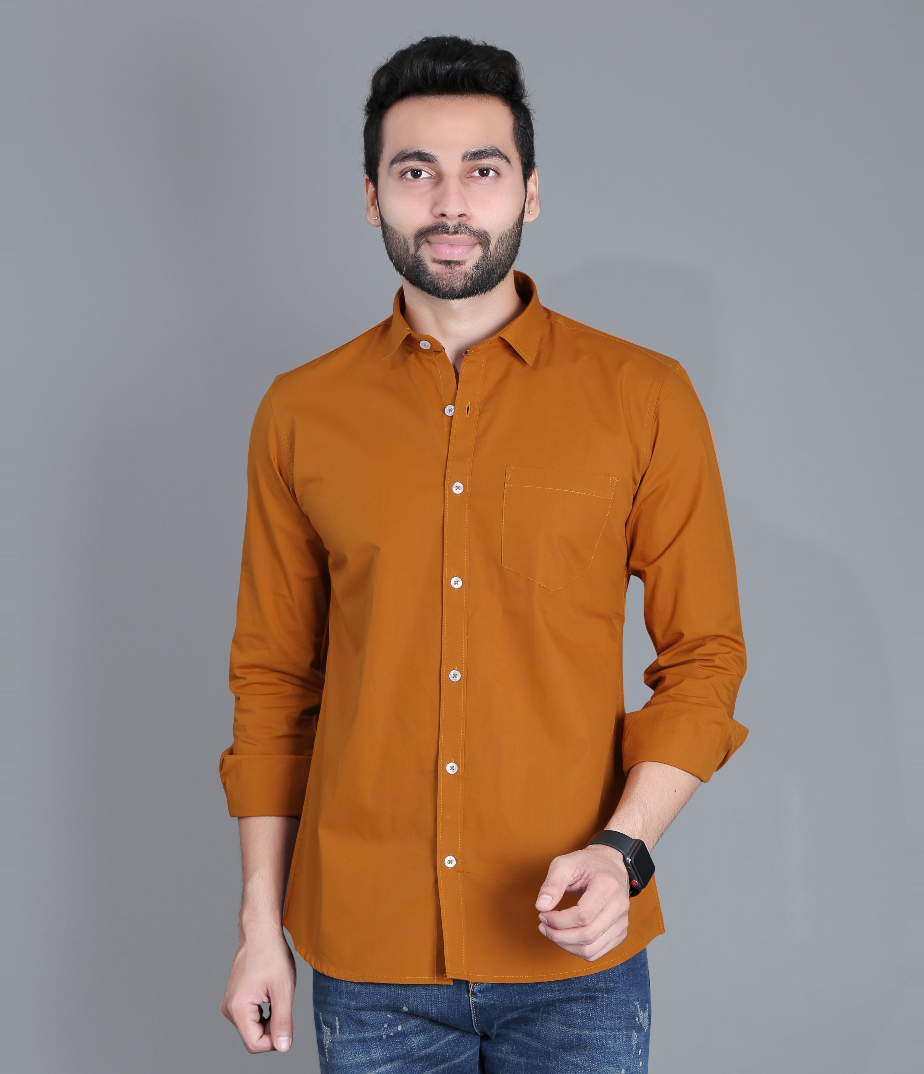 FIFTH ANFOLD Mens Copper Brown Casual Slim Collar Full/Long Sleev Slim Fit Shirt