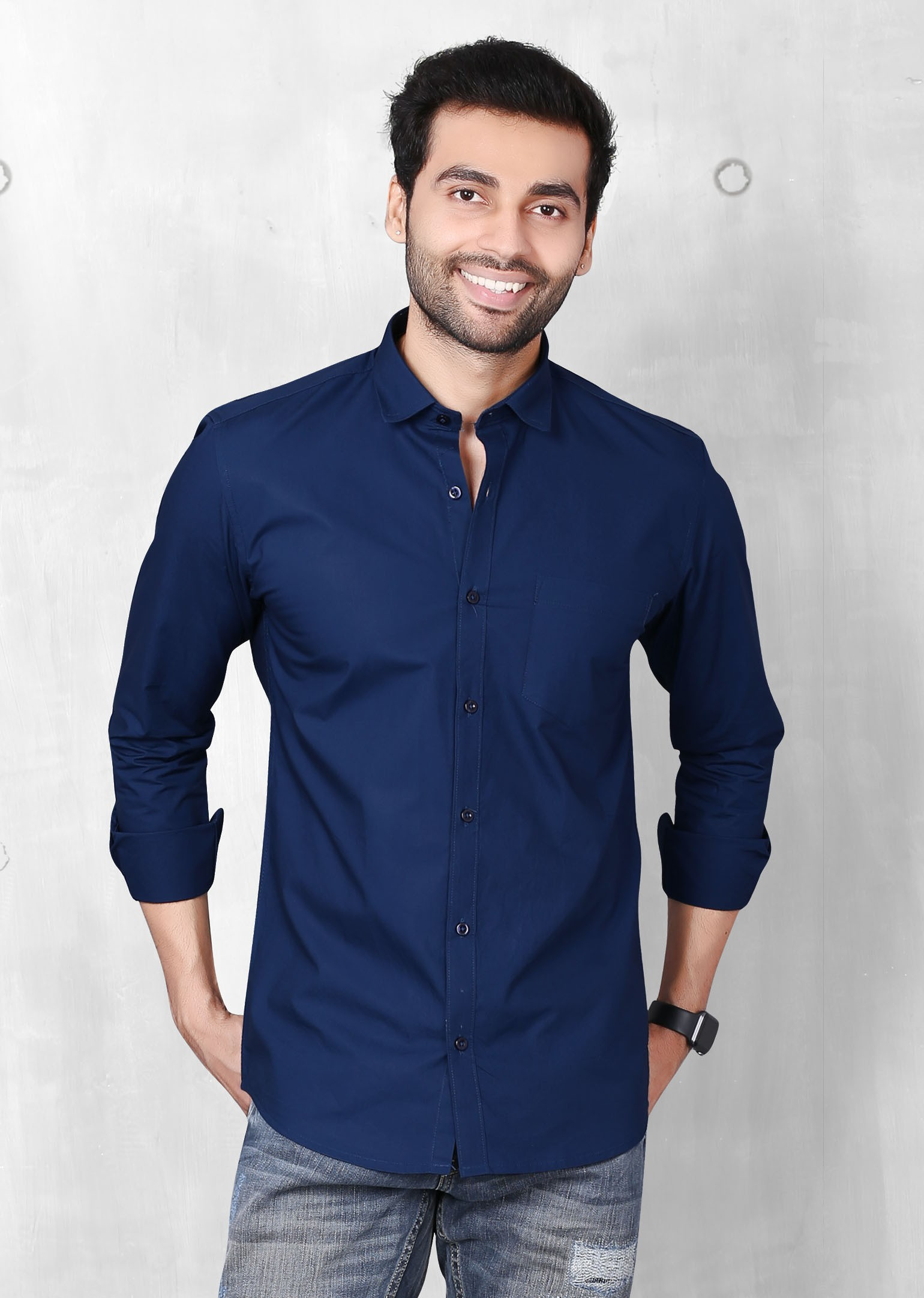 FIFTH ANFOLD Men's Light Blue Casual Slim Collar Full/Long Sleev Slim Fit Shirt
