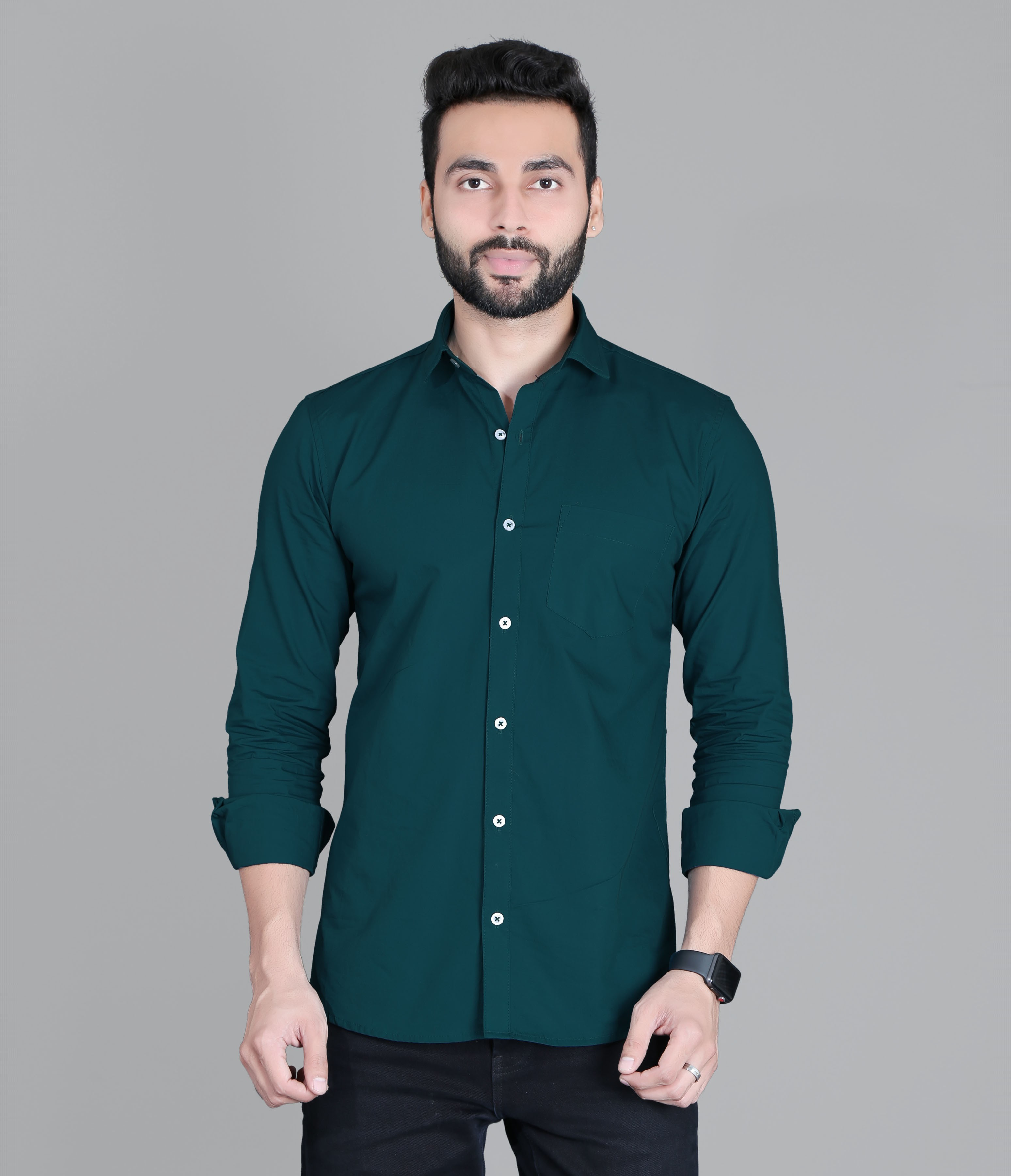 FIFTH ANFOLD Solid Pure Cotton Formal Full Long Sleev Peakok Pure Collar Mens Shirt