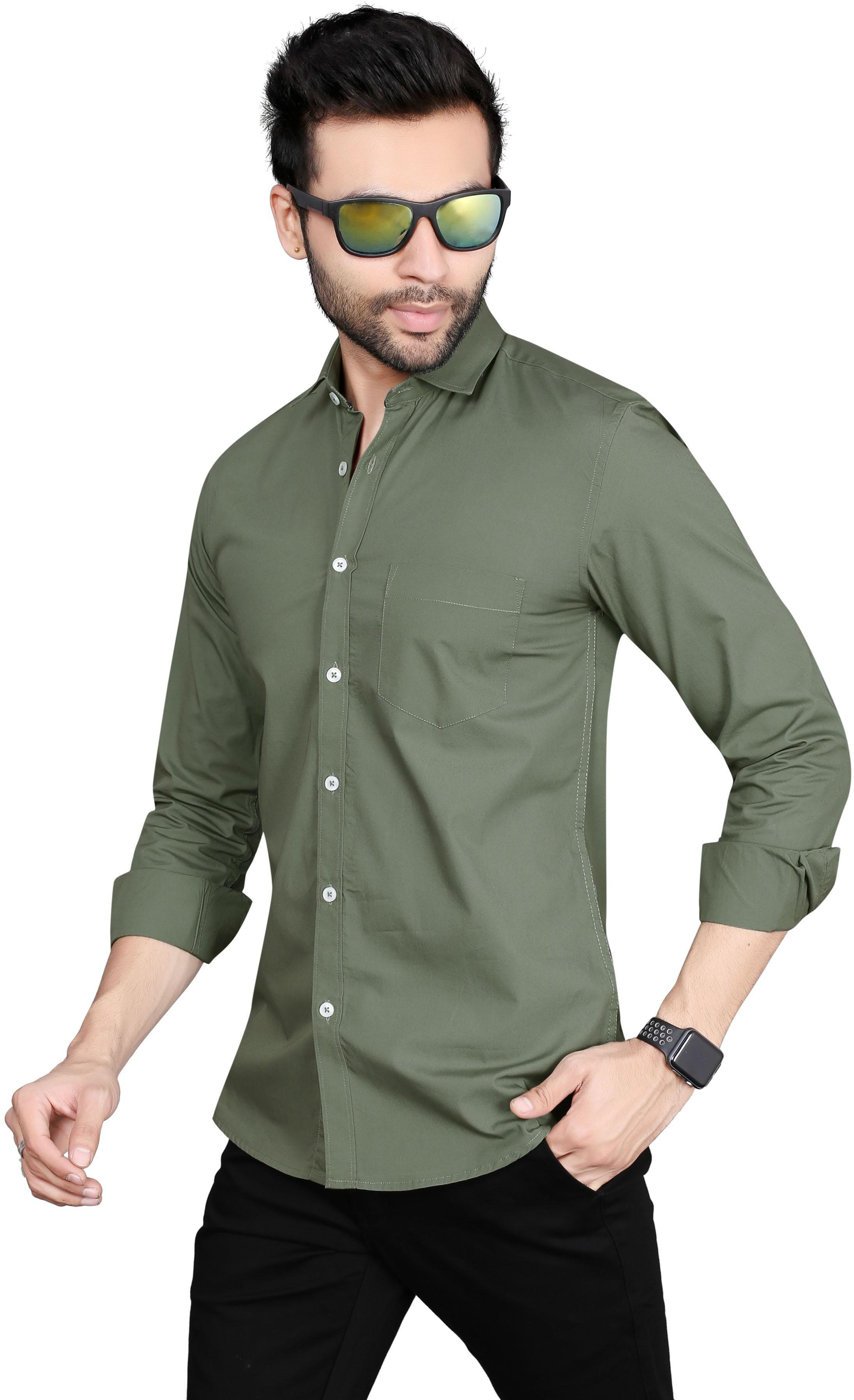 5TH ANFOLD Solid Pure Cotton Casual Full Long Sleev Rusty Green Spread Collar Mens Shirt
