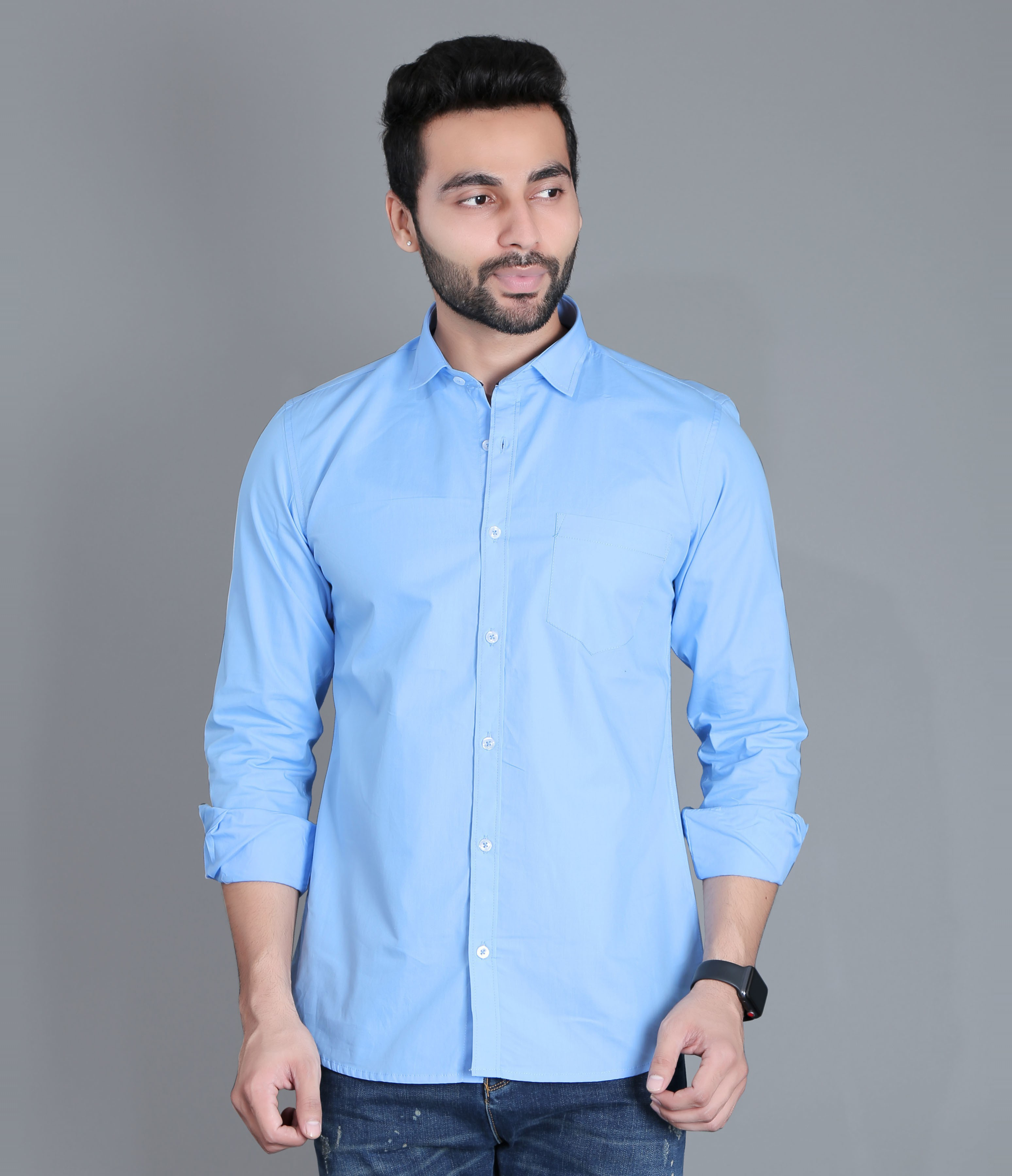 FIFTH ANFOLD Men's Sky Blue Casual Slim Collar Full/Long Sleev Slim Fit Shirt
