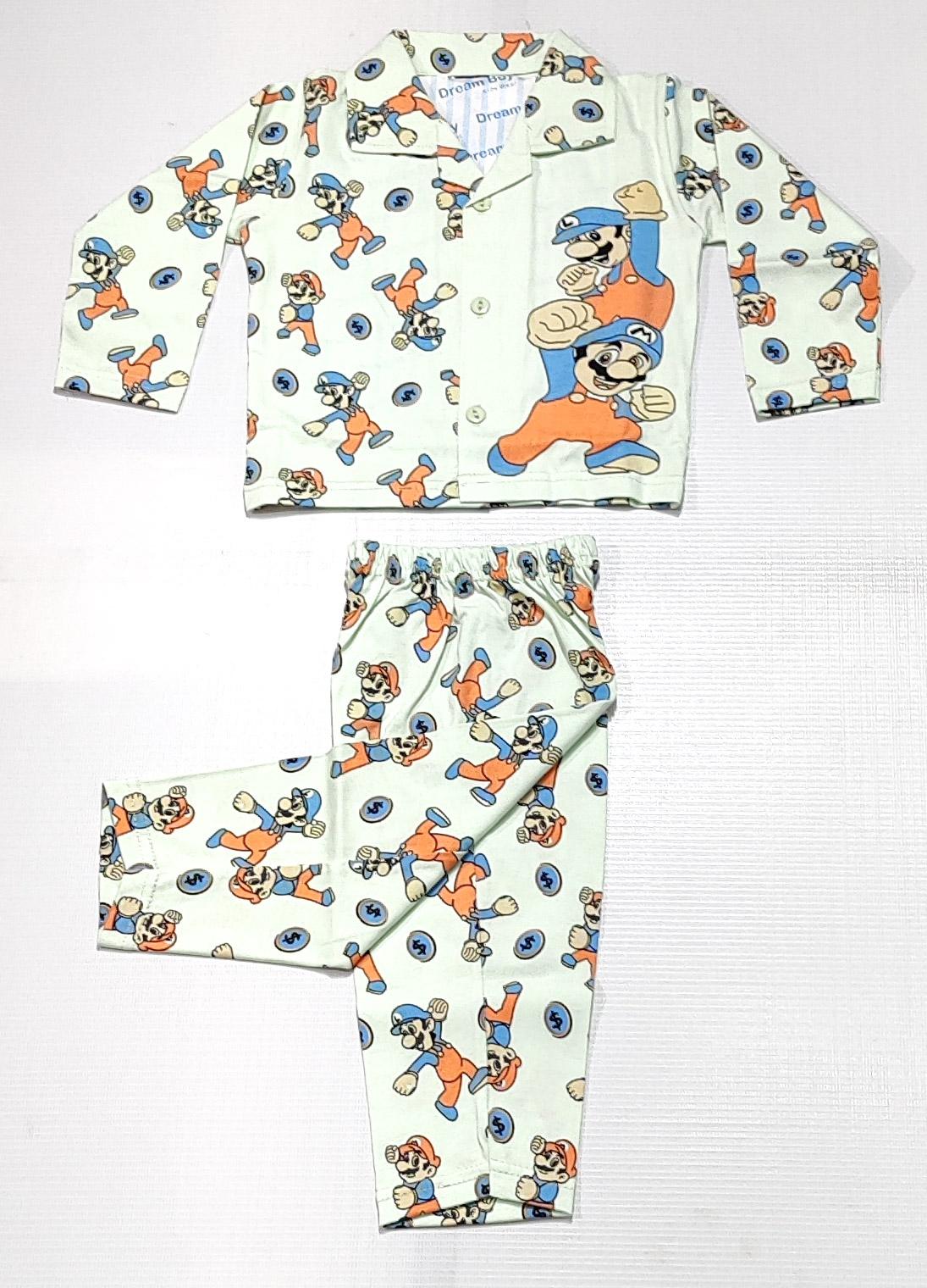 AAAKAR | Boy's Full Sleeves Pyjama Set Super Mario Printed