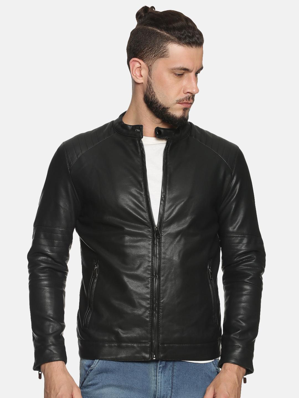 Showoff   Men Black Casual Solid Leather jacket