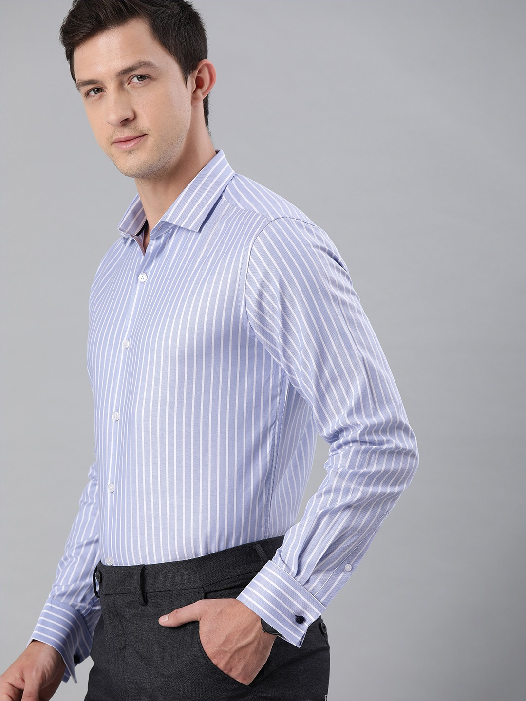 The Bear House | THE BEAR HOUSE Men Blue  White Slim Fit Striped French-Cuff Formal Shirt