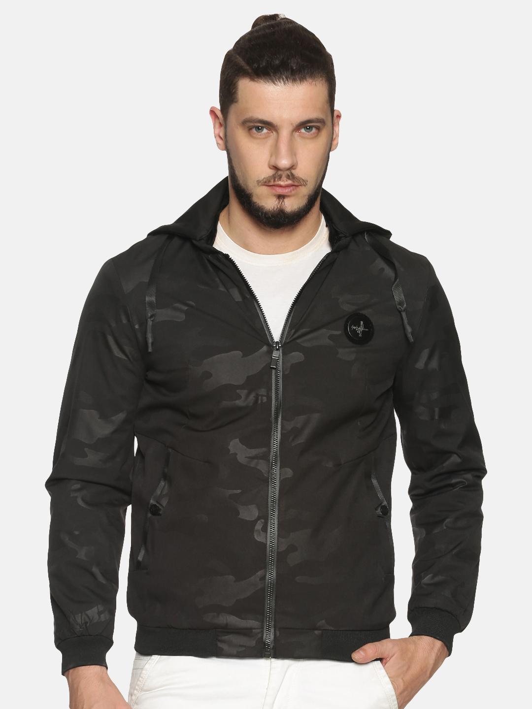 Showoff   Men Black Camouflage Bomber Jackets with Detachable Hood