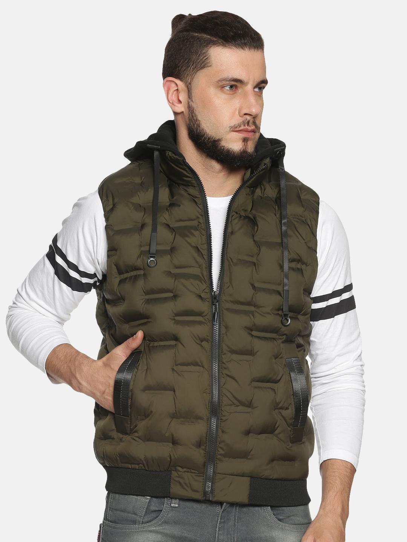 Showoff | Men Green Solid Gilet Jacket with Detachable Hood