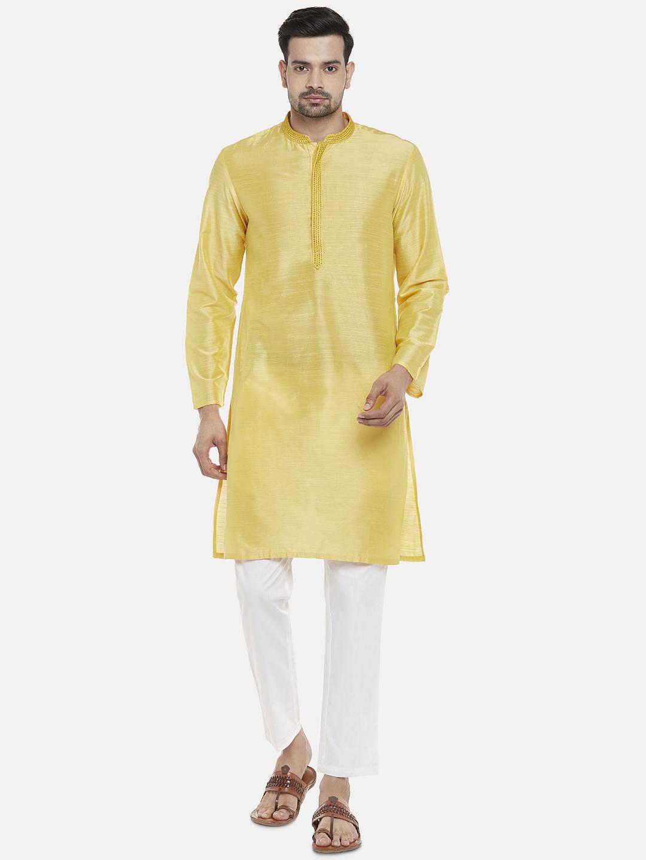 Ethnicity   Ethnicity Polystaple  Straight Full Sleeve Men Yellow Kurta