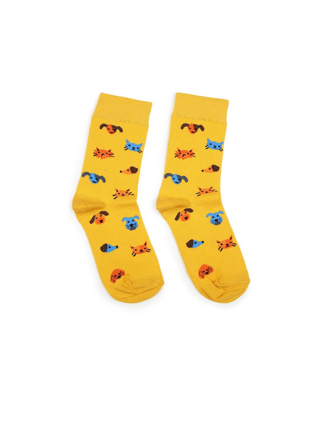 Soxytoes   Soxytoes Pets Cotton Crew Length Yellow Kids Socks-Age (8-12 Years)