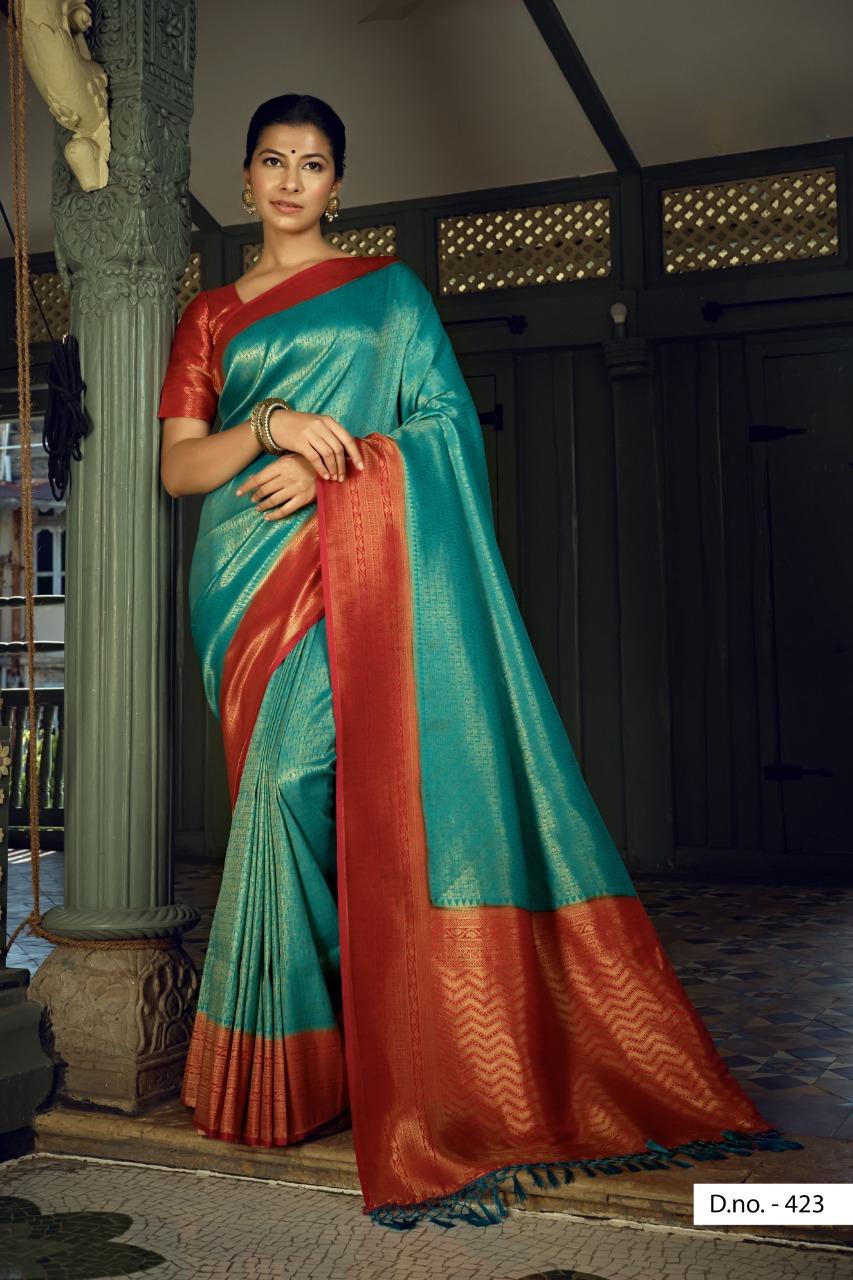 POONAM TEXTILE   Mesmerising Blue Colored Festive Wear Woven Pure Silk Saree