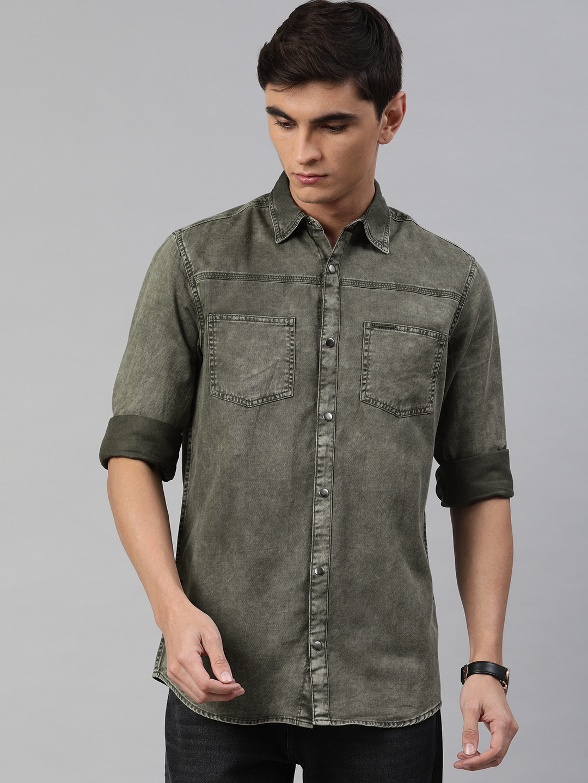 The Bear House | Men's Green Double Pocket Overshirt