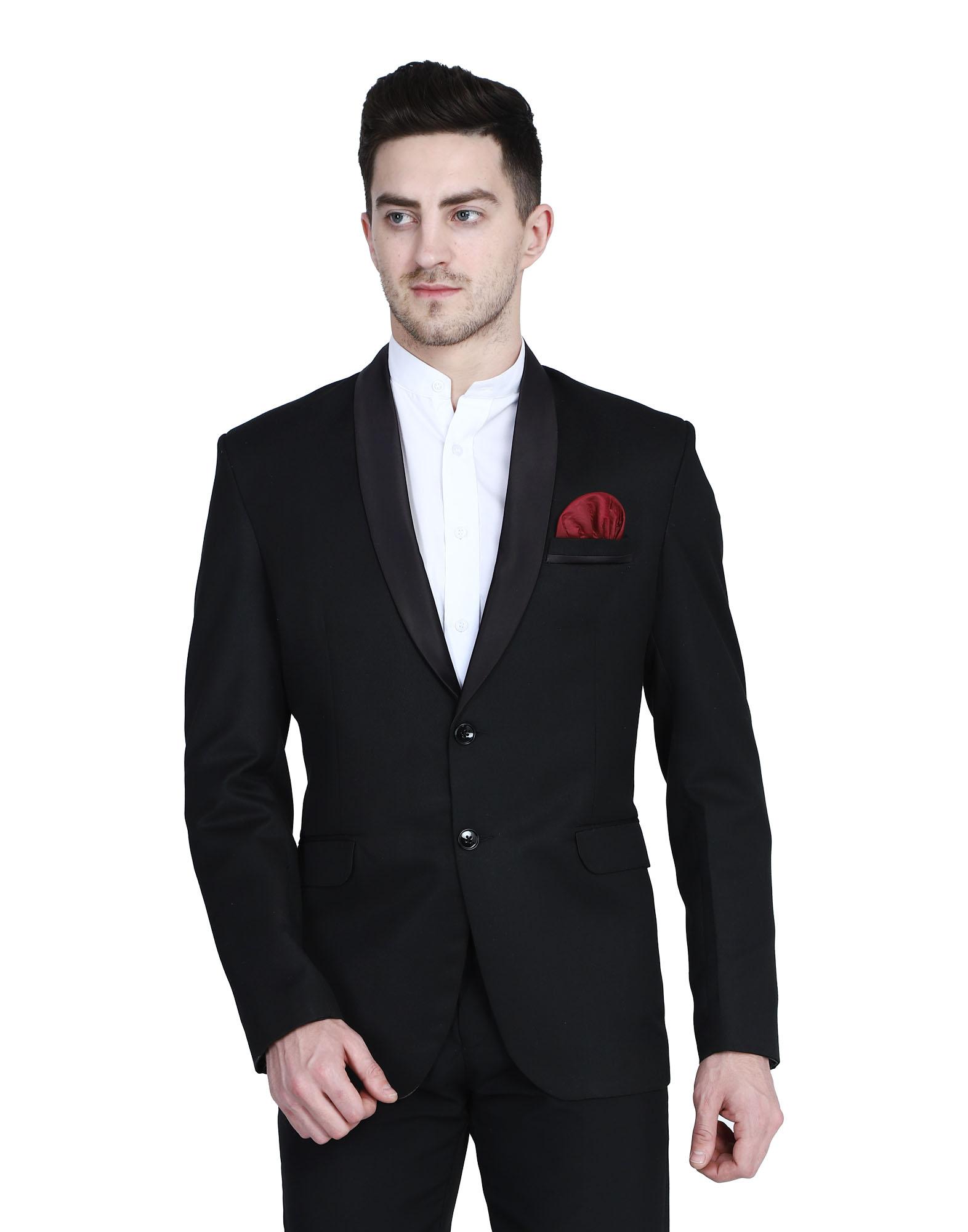 TAHVO | Black Tuxedo Blazer With Hanky For Men
