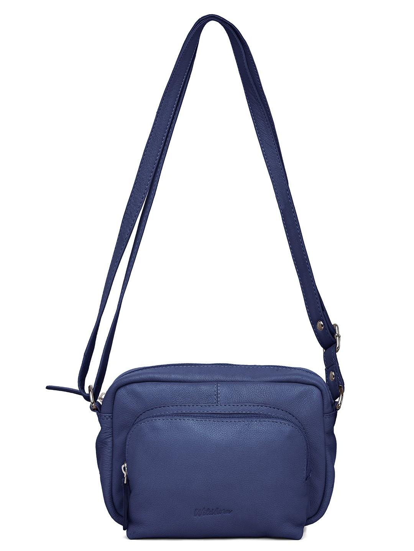 WildHorn | WildHorn Upper Grain Genuine Leather Ladies Sling, Crossbody, Shoulder Bag with Adjustable Strap - Blue