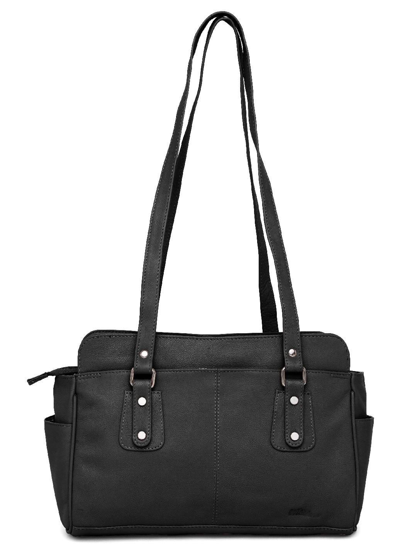 WildHorn | WildHorn Upper Grain Genuine Leather Ladies Shoulder Hand Bag for Girls & Women - Black