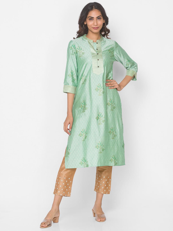 Ethnicity | Mint Cotton Silk Three-Fourth Occasion Women Kurta
