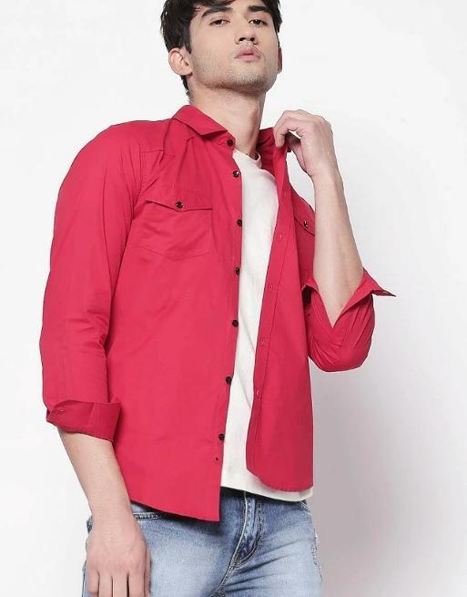 Hemsters | Hemsters dark pink full-sleeve solid shirt for men