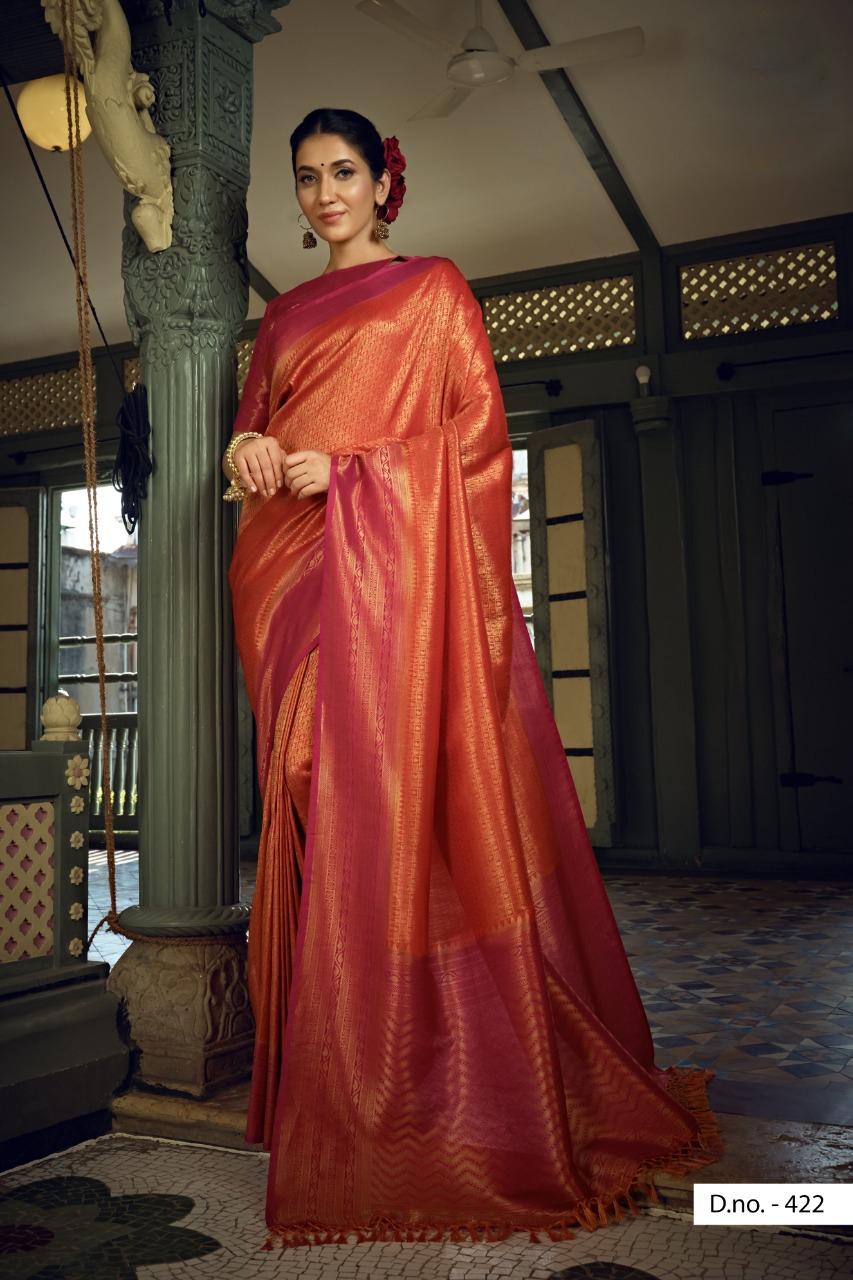 POONAM TEXTILE   Attractive Red Colored Festive Wear Woven Pure Silk Saree