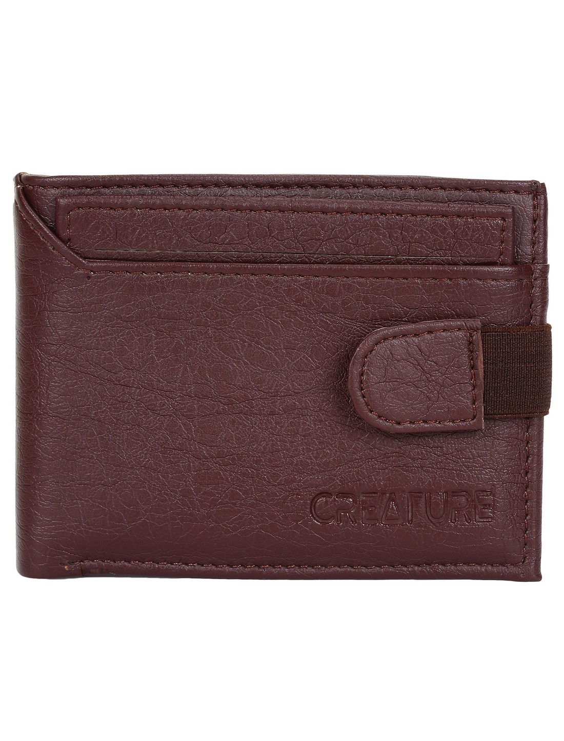 CREATURE   CREATURE Bi-Fold Brown Color Faux-Leather Wallet with Multiple Card Slots for Men