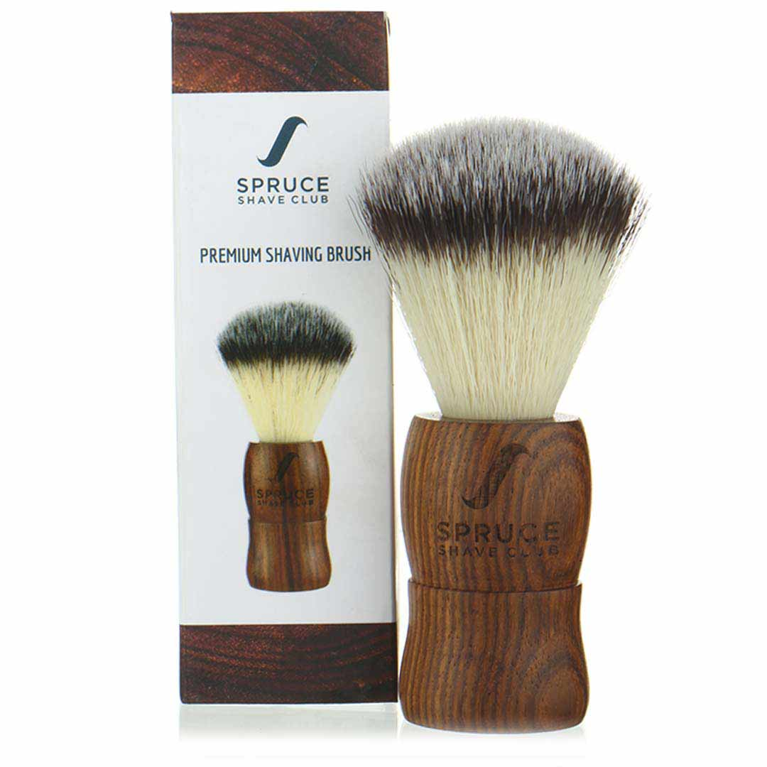 Spruce Shave Club | Spruce Shave Club Shaving Brush | Genuine Wood | Imitation Badger Hair