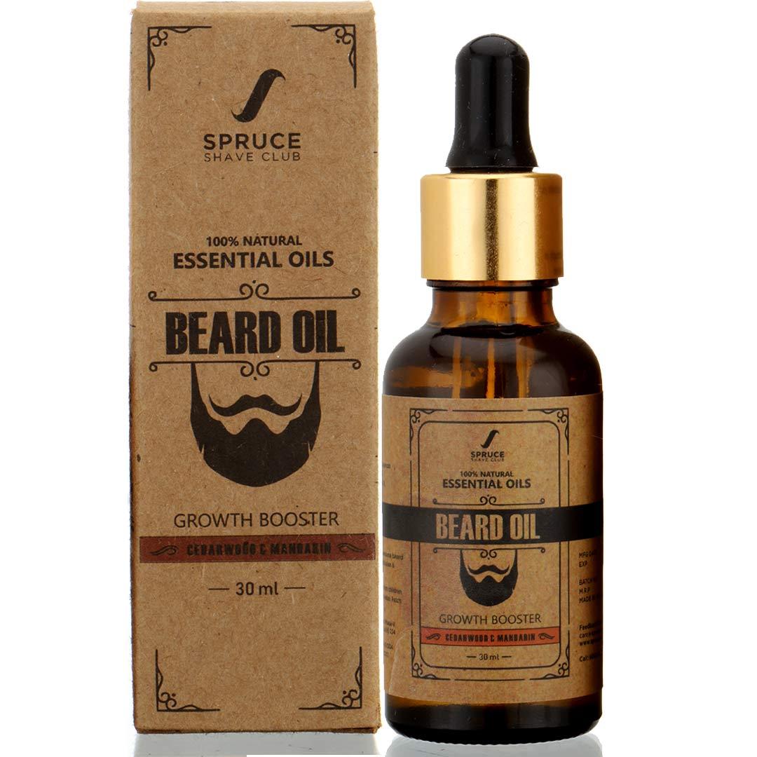 Spruce Shave Club | Spruce Shave Club Beard Growth Oil For Men| 100% Natural | Cedarwood & Mandarin