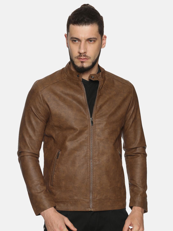 Showoff   Men Khaki Casual Solid Leather jacket