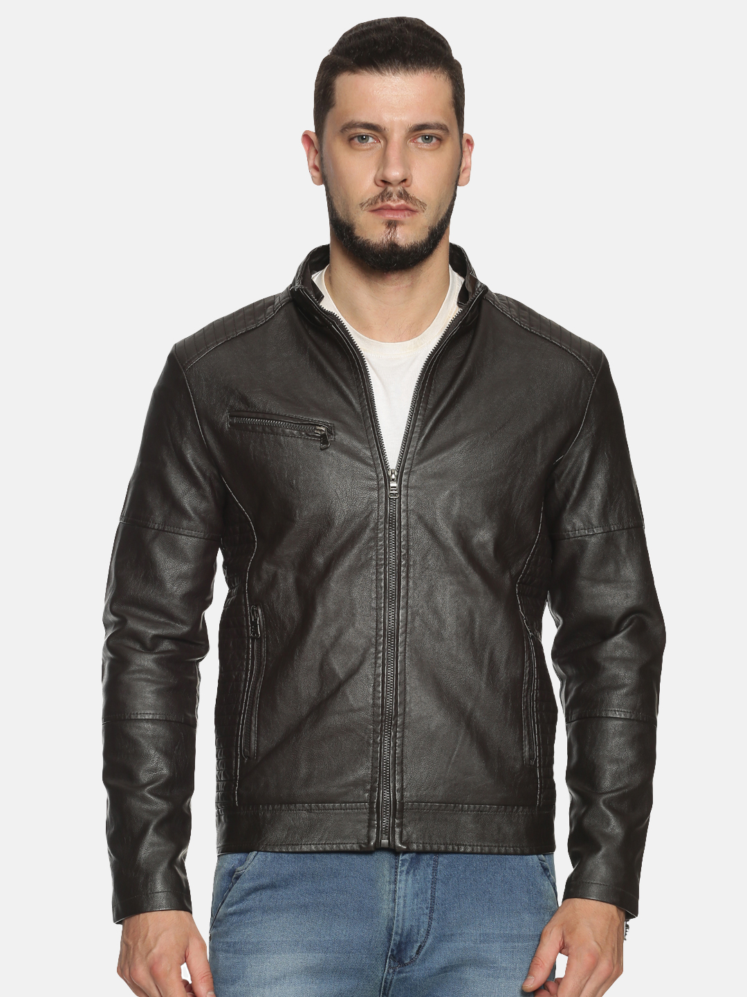 Showoff | Men Coffee Brown Solid Leather jacket with Detachable Hood