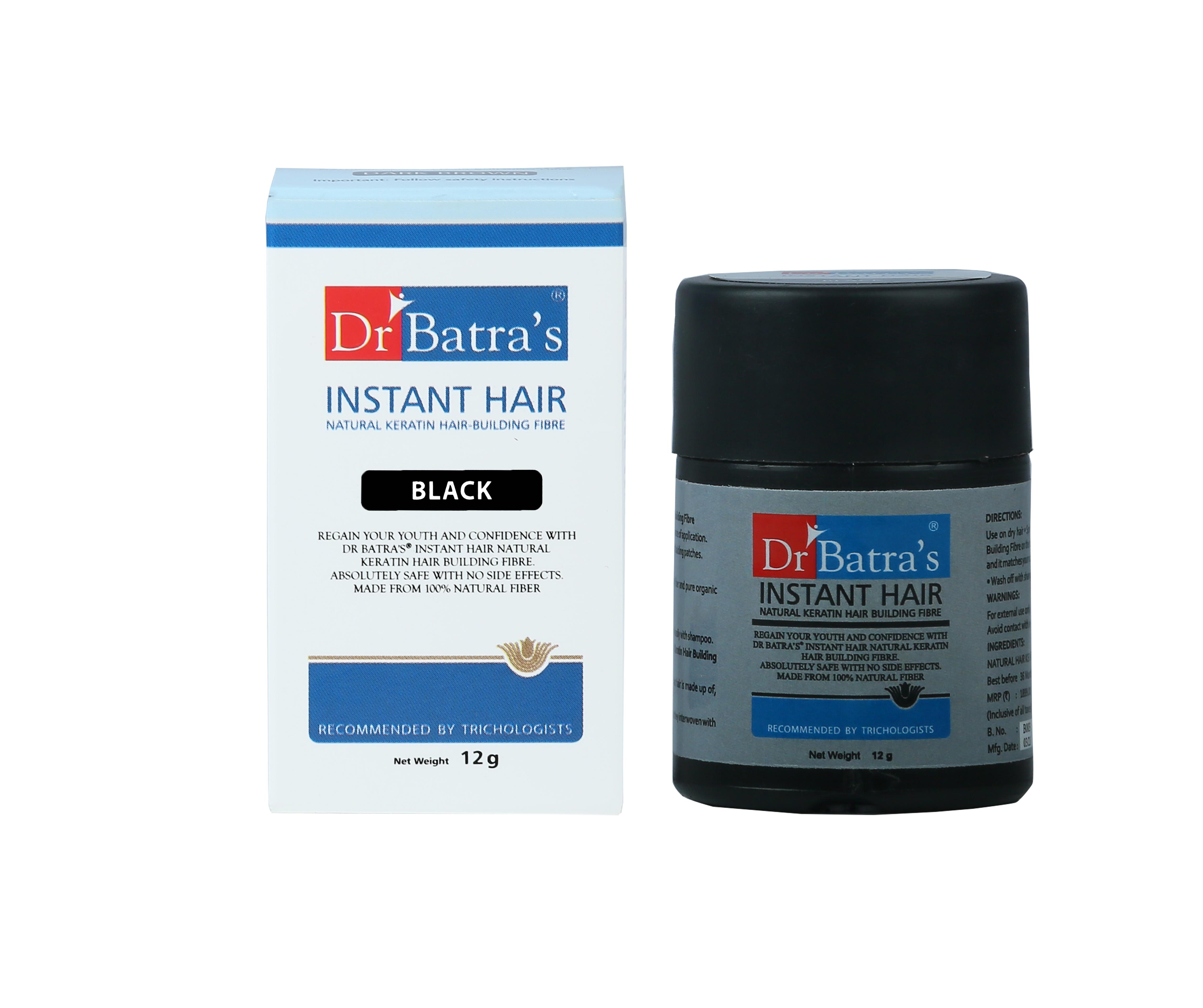 Dr Batra's | Dr Batra's Instant Hair Natural keratin Hair Building Fibre Black - 12 gm