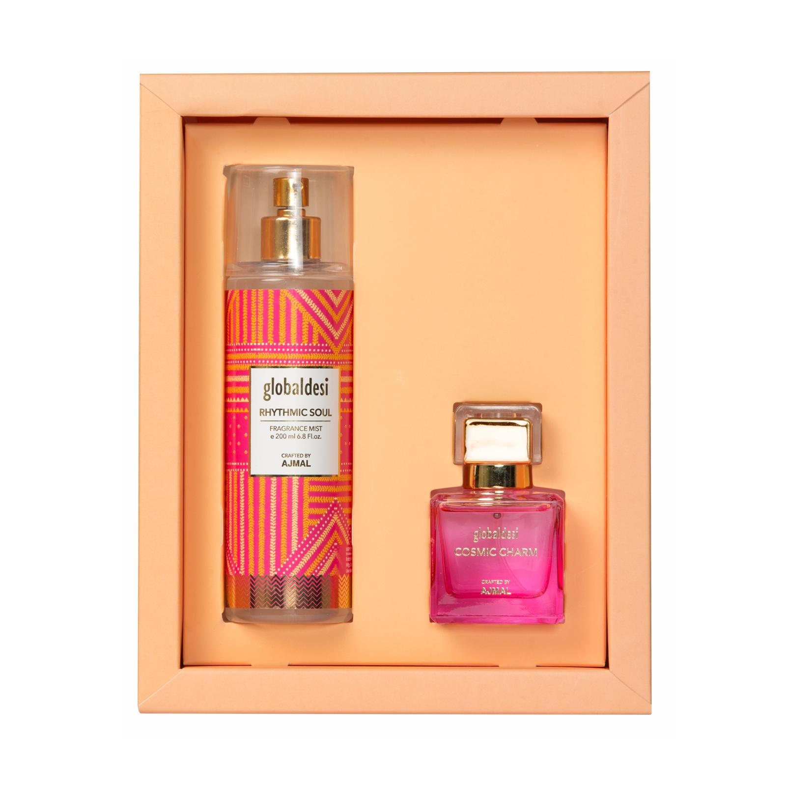 Global Desi Crafted By Ajmal | Global Desi Cosmic Charm Eau De Parfum 50ML & Rhythmic Soul Body Mist 200ML for Women Crafted by Ajmal