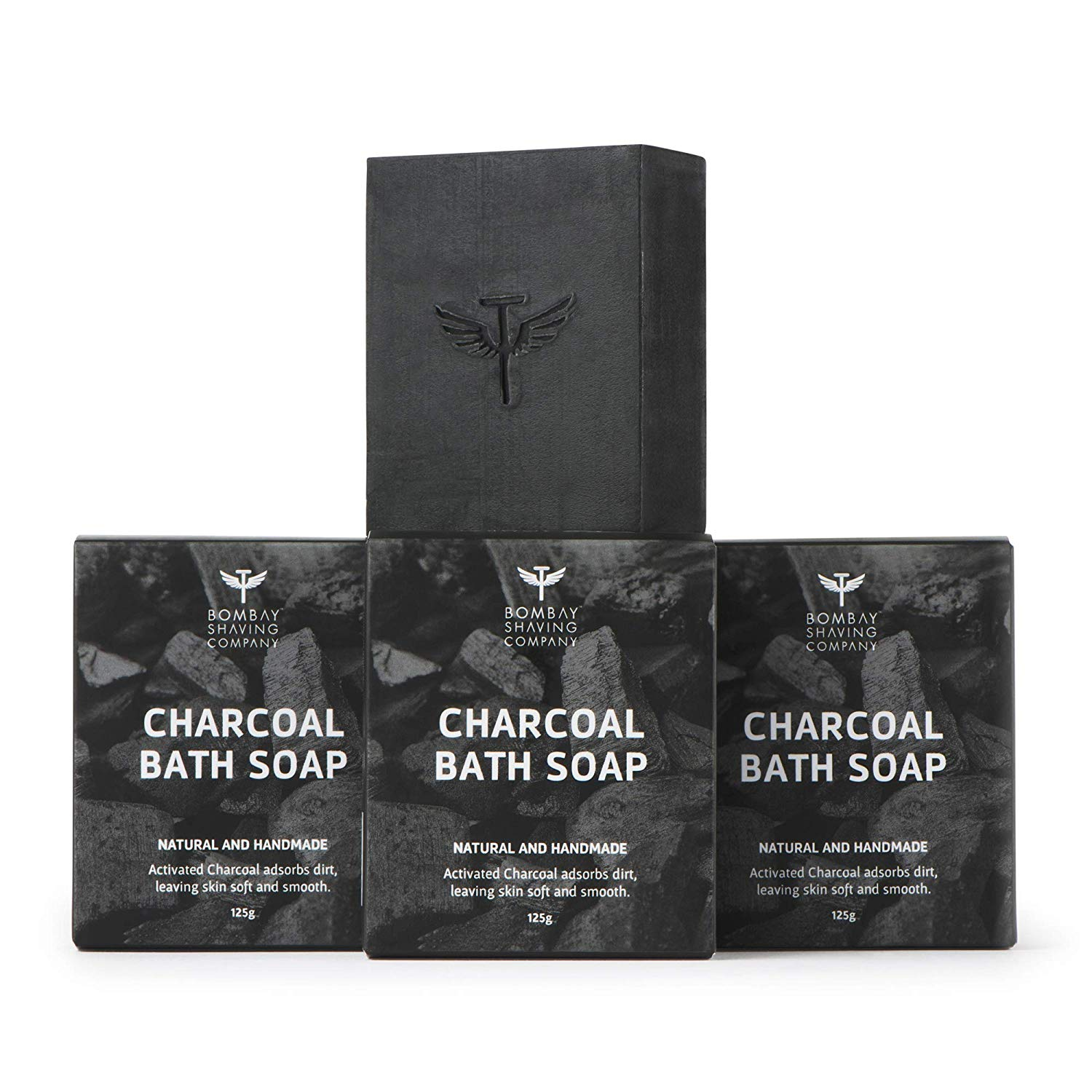 Bombay Shaving Company |  Activated Bamboo Charcoal Bath Soap-125g (Pack of 3) | Made in India