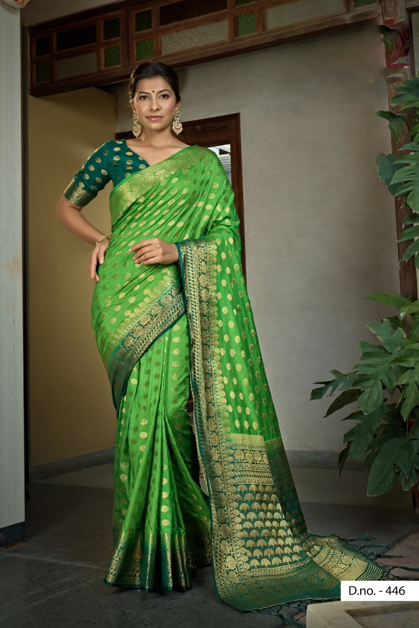 POONAM TEXTILE | Imposing Parrot Green Colored Festive Wear Woven Raw Silk Saree