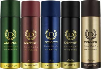 Denver | DENVER Hamilton, Honour, Pride, Caliber and Prestige Combo Deodorant Spray - For Men  (1000 ml, Pack of 5)