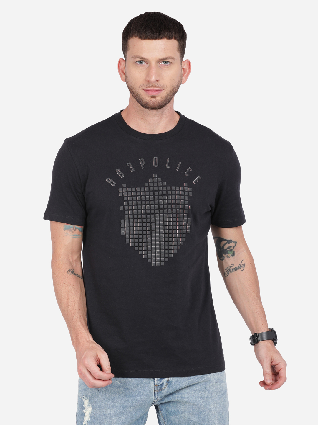 883 Police | 883 Police Checked Shield T-shirt