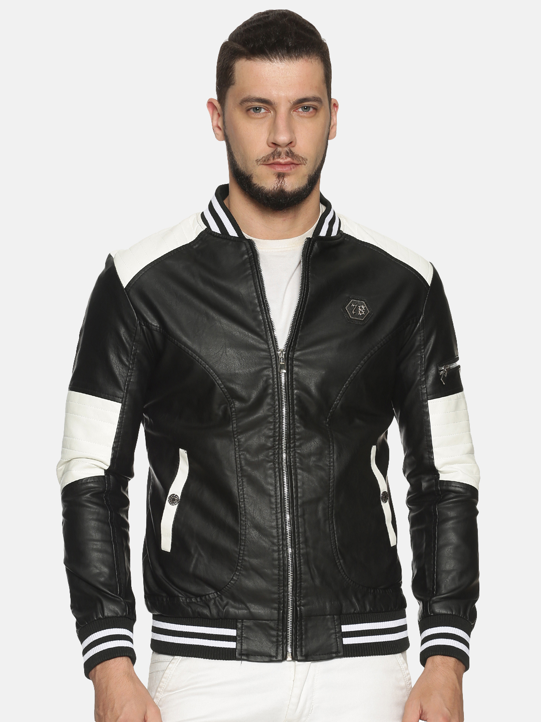Showoff   Men Black&White Casual Solid Leather jacket