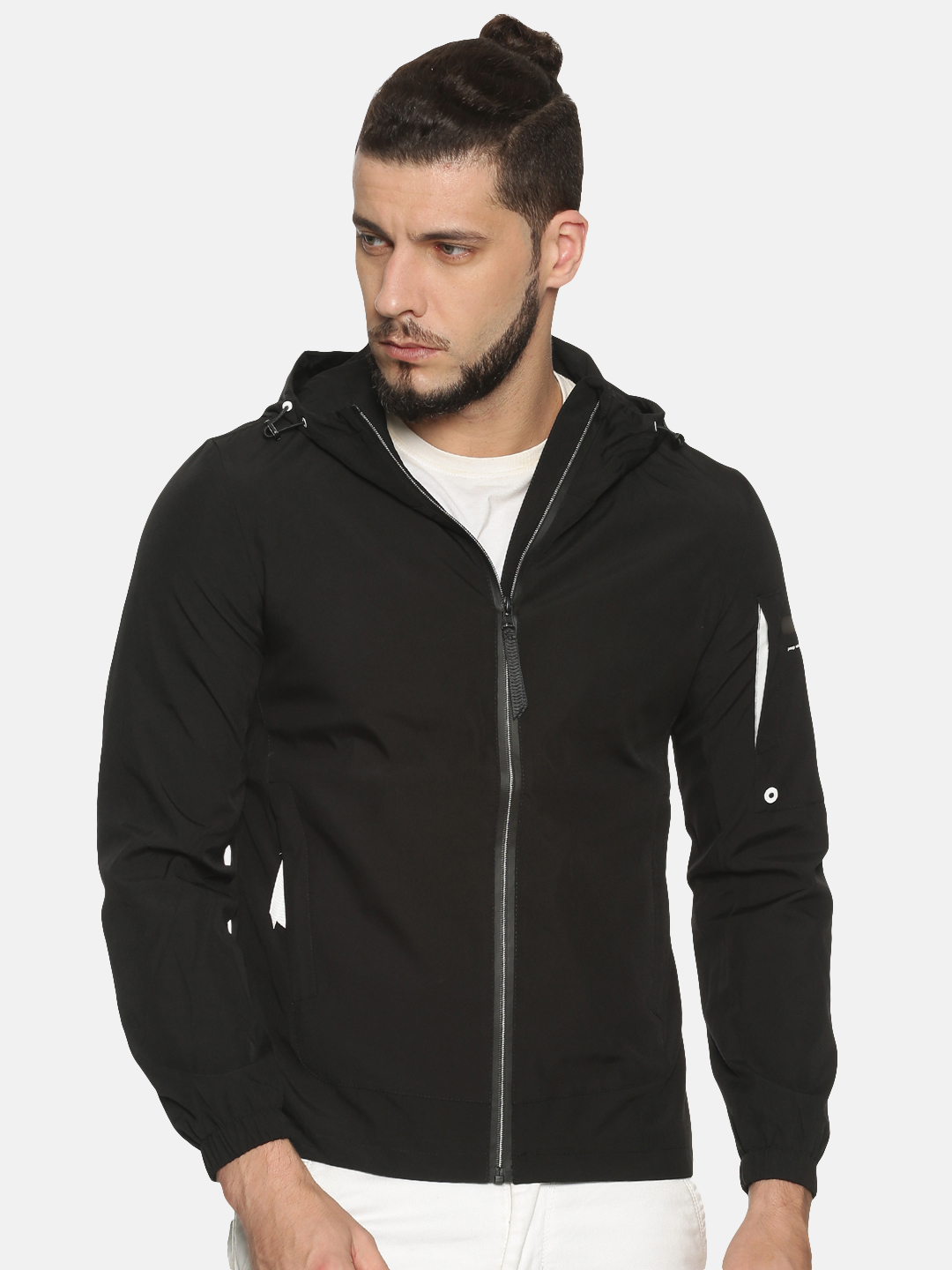 Showoff | Men Black Solid Casual Jackets with Detachable Hood