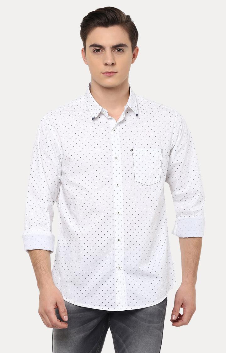 Spykar | spykar White Polka Dots Slim Fit Casual Shirt