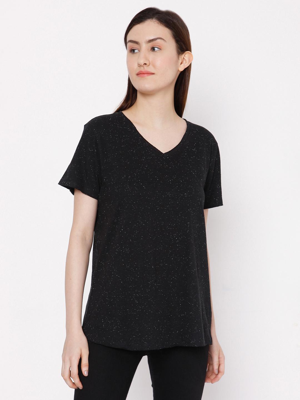 Spykar | spykar Black Melange Slim Fit T-Shirt