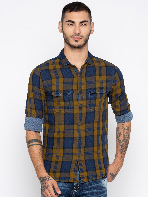 Spykar   spykar Yellow & Blue Checked Slim Fit Casual Shirt