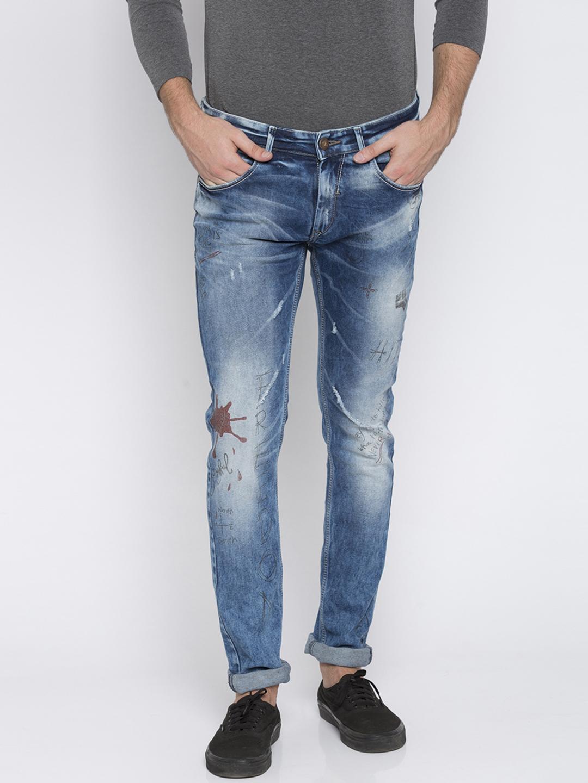 Spykar | Spykar Mid Blue Printed Skinny Fit Jeans