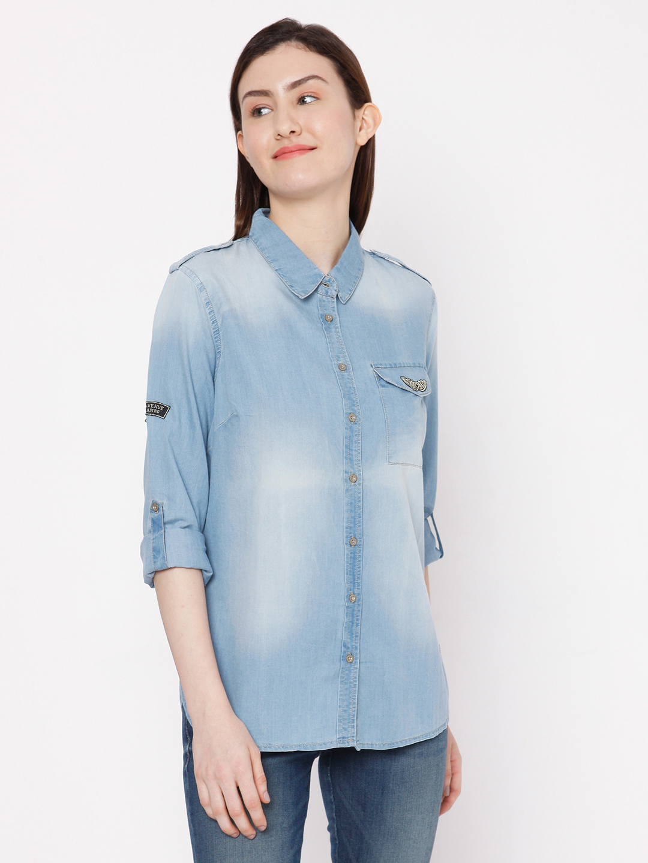 Spykar | Spykar MID_BLUE Cotton Women Casual Shirts