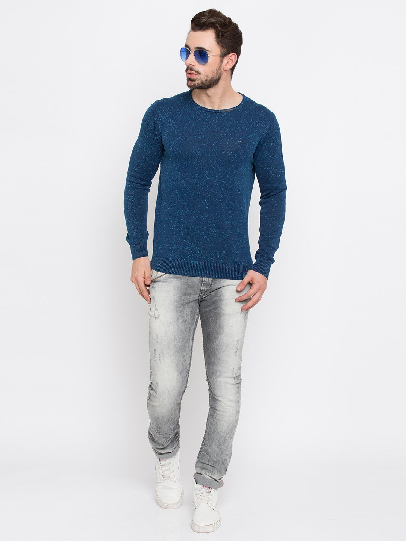 Spykar   spykar Blue Printed Slim Fit T-Shirt