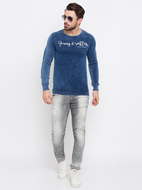 Spykar   spykar Blue Solid Slim Fit T-Shirt
