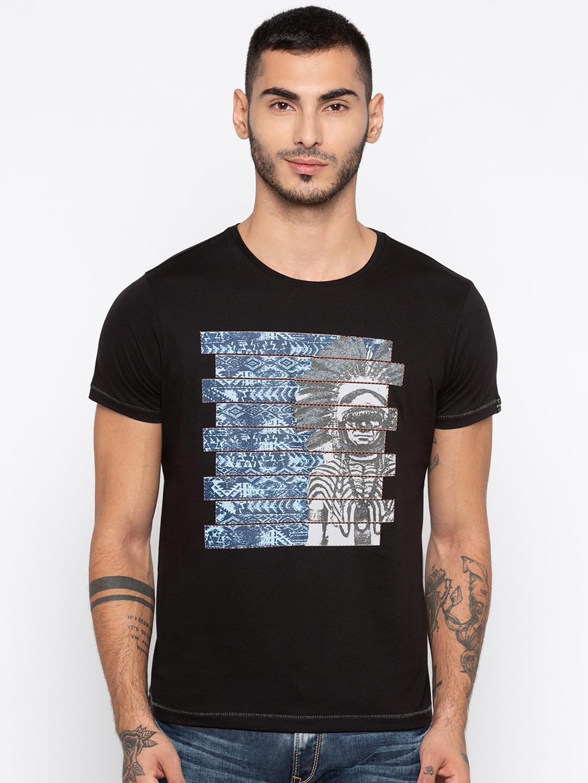 Spykar | spykar Black Printed Slim Fit T-Shirt
