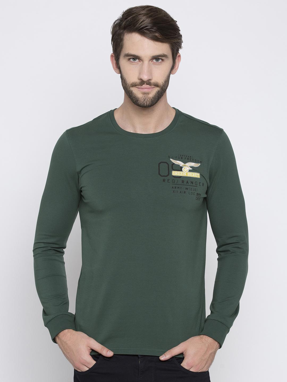 Spykar   spykar Green Solid Slim Fit T-Shirt