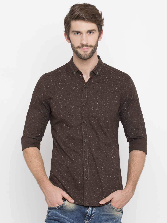 Spykar | spykar Brown Printed Slim Fit Casual Shirt