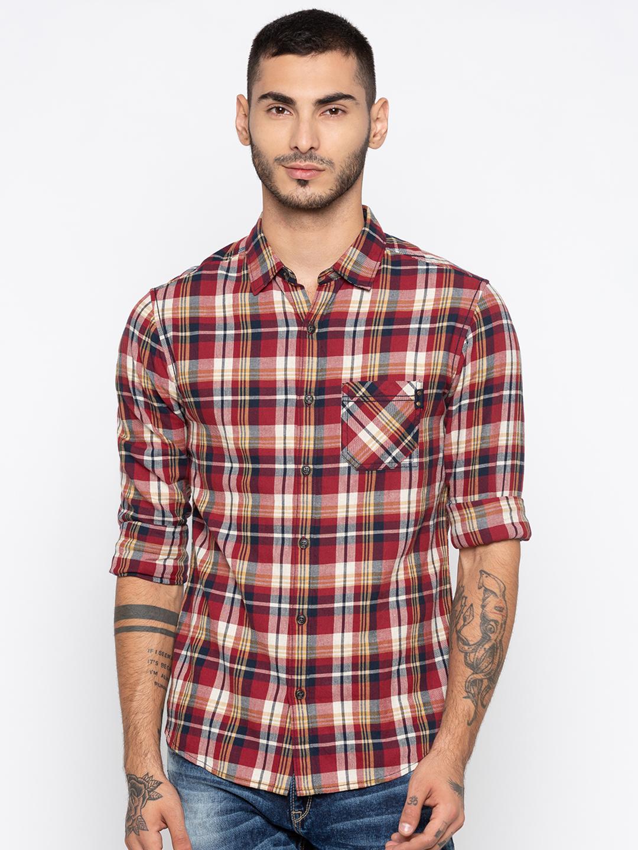Spykar | spykar Red Checked Slim Fit Casual Shirt