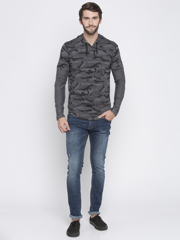 Spykar | spykar Grey & Black Camouflage Slim Fit Hoodies