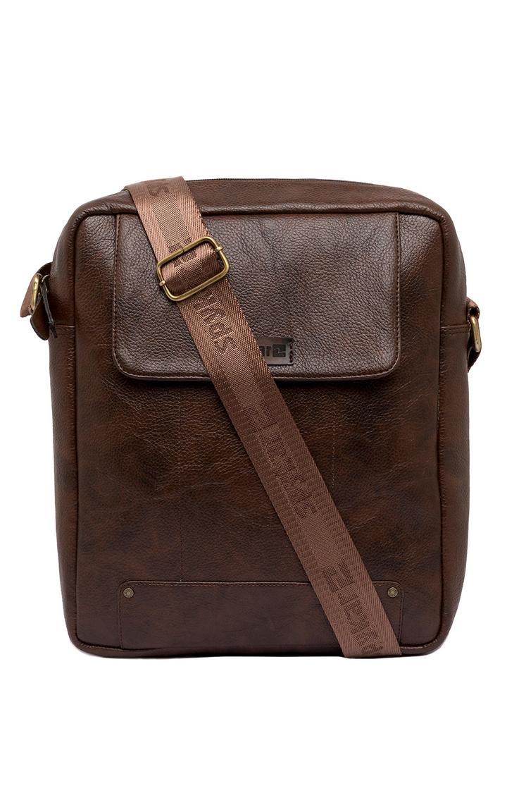 Spykar   Spykar Brown Genuine Leather Messenger Bag