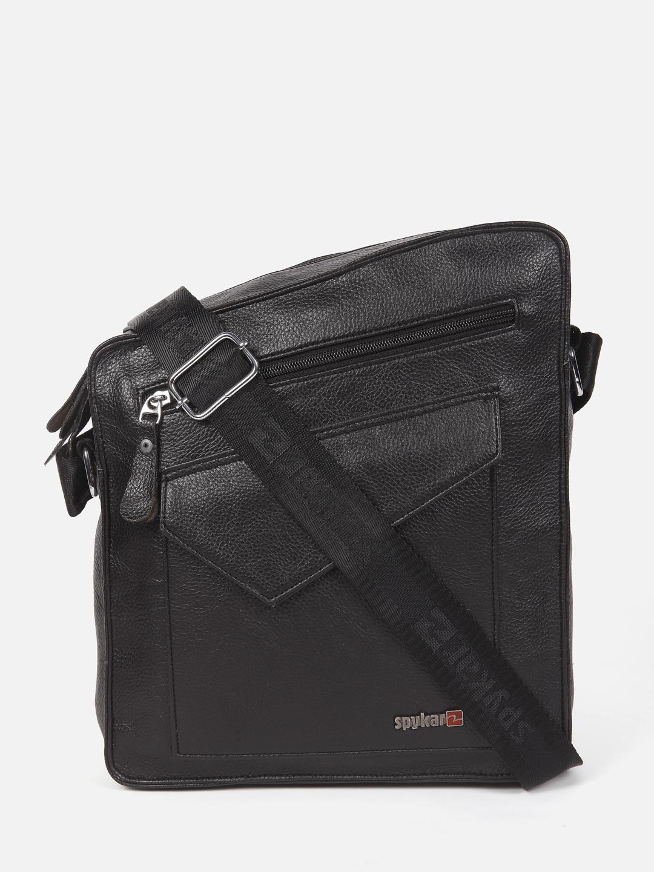 Spykar | Spykar Black Genuine Leather Messenger Bag