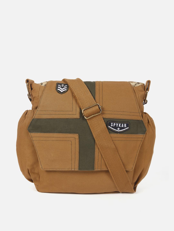 Spykar | Spykar Khaki Canvas Messenger Bag